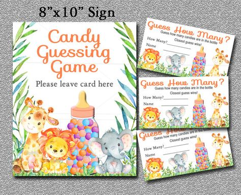 Safari Baby Shower Game, Guess How Many, Candy Guessing Game