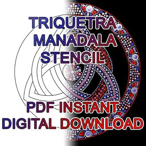 Dot Art Triquetra Trinity Symbol Mandala Stencil 5 sizes  PDF   Etsy