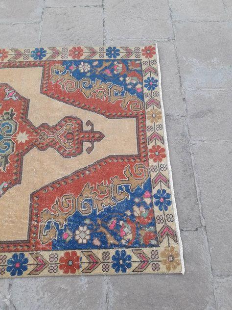 Vintage Oushak Rug Vintage Turkish Rug Handmade Turkish Carpet
