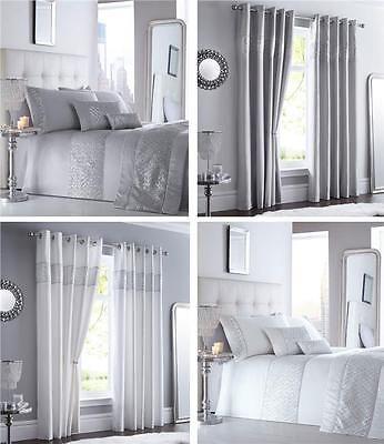 Grey Diamante Silver Sequin Bedding, Silver And White Bedding Sets