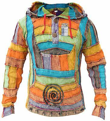 Hippie Roll Neck Jumper Pixie Hoodie 100/% Cotton Sweater Boho Shirt Pullover