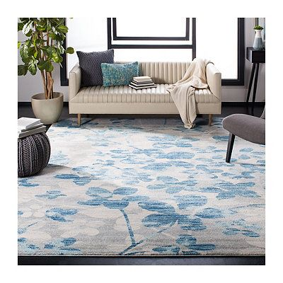 Gray And Blue Everley Floral Rug 8x10 Light Blue Area Rug Area