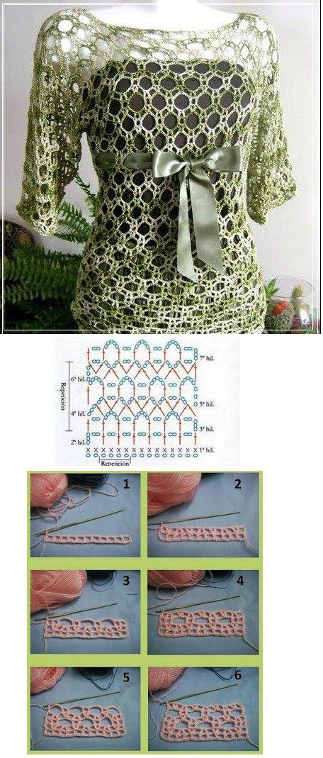 crochet tunic in light green