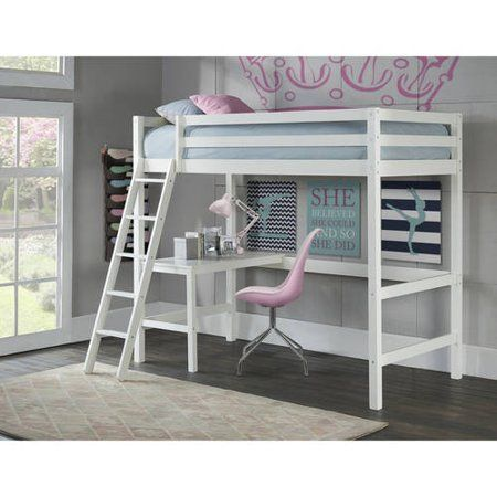 Hillsdale Caspian Study Twin Loft Bed With Desk White Walmart Com Twin Loft Bed Girls Loft Bed Loft Beds For Teens