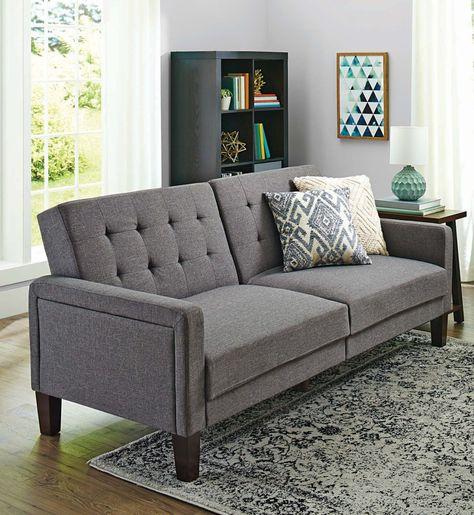 Better Homes Gardens Porter Fabric Tufted Sofa Bed Multiple Colors Walmart Com Futon Living Room Small Futon Sofa Design