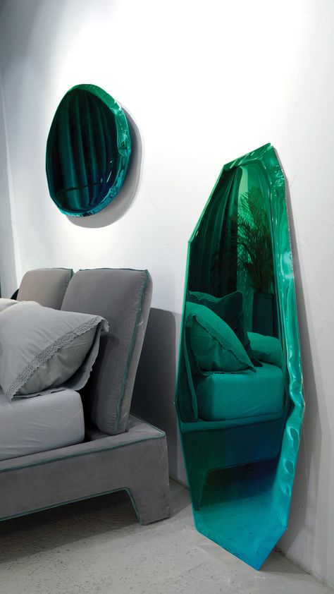 Home Decoration Furniture Blue/Green Gradient Mirrors Made From Inflated Metal by Oskar Zieta - Design Milk.Home Decoration Furniture Blue/Green Gradient Mirrors Made From Inflated Metal by Oskar Zieta - Design Milk Decor Interior Design, Furniture Design, Interior Decorating, Interior Ideas, Furniture Layout, Table Design, Luxury Decor, Luxury Interior, Modern Interior