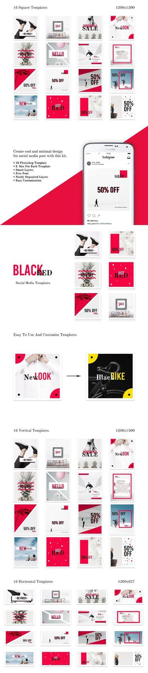 facebook Social Media pack - BlackRed...