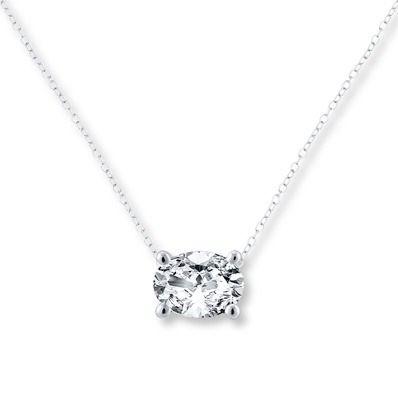 Diamond Solitaire Necklace 1 Carat Oval 14k White Gold Jared Solitaire Necklaces Diamond Solitaire Necklace Diamond