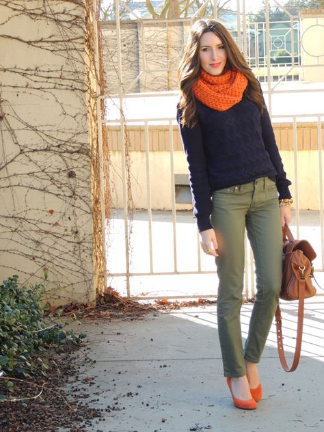 navy sweater, olive theory pants, orange suede wedges