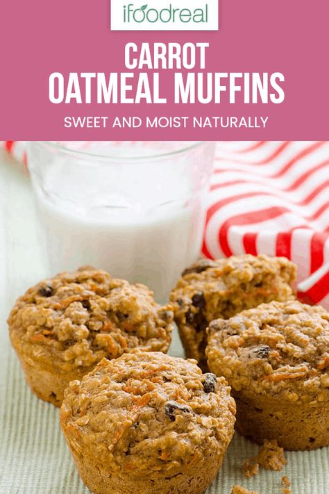Carrot Oatmeal Muffins Recipe made healthy and moist with applesauce, oats, whole wheat flour and honey. #ifoodreal #cleaneating #healthy #recipe #breakfast #oatmeal #easybreakfast