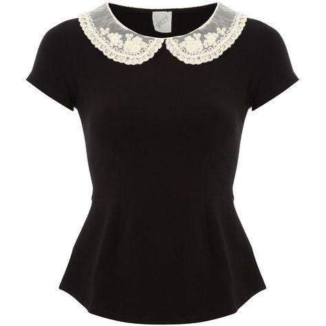 G21 Crochet Collar Peplum Top Women George at Asda ($29) ❤ liked on Polyvore