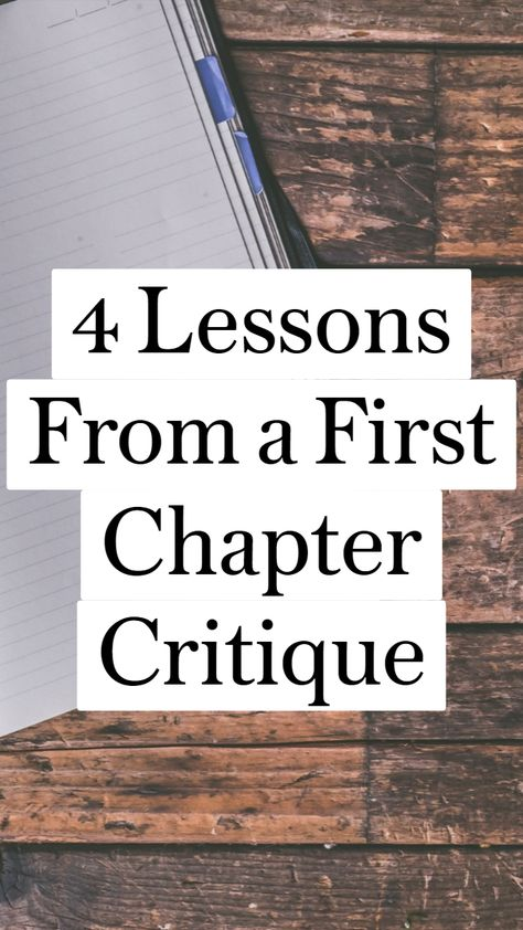 4 Lessons From a First Chapter Critique