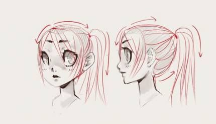 Hair Drawing Front View 55 Ideas Ponytail Drawing Drawings Drawing Reference