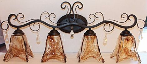 4 light Bronze vanity bathroom wall lights with amber hand blown  glass