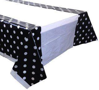 Party Tablecloth 5 Pack Polka Dot Black In 2020 Polka Dot Tablecloth Black And White Tablecloth Plastic Tablecloth