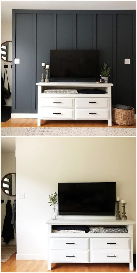 Diy Board Batten Accent Wall Harbor Pine Accent Walls In Living Room Small House Interior Living Room Tv Wall