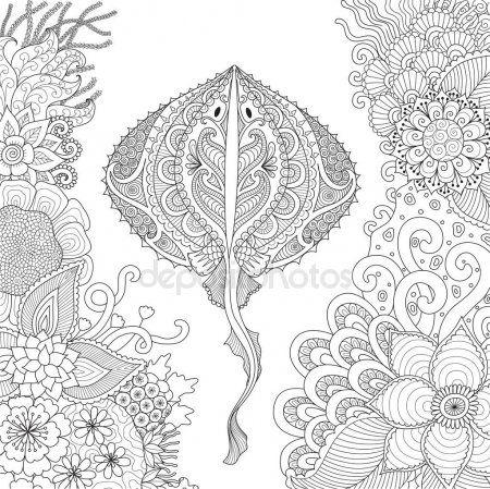 Zendoodle De Stingray Nadar Entre Corales Hermosos En El Mundo Del Agua Para El Adulto Libro C Designs Coloring Books Crewel Embroidery Patterns Coloring Pages