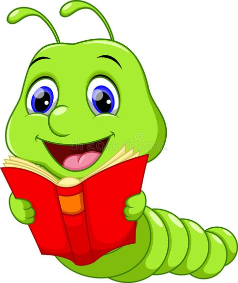 Photo About Illustration Of Worm Reading A Book Illustration Of