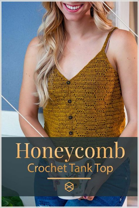 A cute and easy summer crochet top pattern. With a playful honeycomb design to keep you cool all season long. This pattern is in sizes small to Crochet Tank Tops, Crochet Summer Tops, Crochet Shirt, Summer Knitting, Diy Crochet Top, Crochet Top Outfit, Crochet Sweaters, Crochet Pillow, Crop Top Pattern