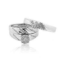 10k White Gold Diamond 3pc Trio Wedding Set His And Hers 0 4cttw Trio Wedding Sets Wedding Sets White Gold Diamonds