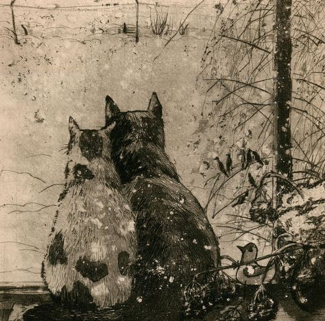 Plusha and Musya   etching of two cats in the snow, 2007   Aleksey Zuev