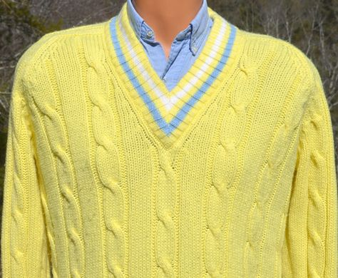 3230bd091b vintage 70s TENNIS sweater v-neck stripes cable knit preppy Medium yellow  white 80s by skippyhaha