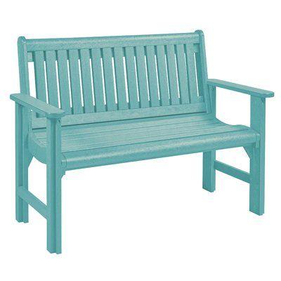 Beachcrest Home Alanna Plastic Garden Bench Outdoor Furniture Bench Plastic Garden Bench Wooden Garden Benches