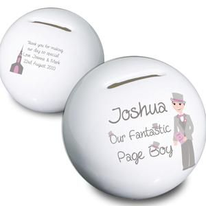 Great Personalised Money box to thank that all important little Page Boy!