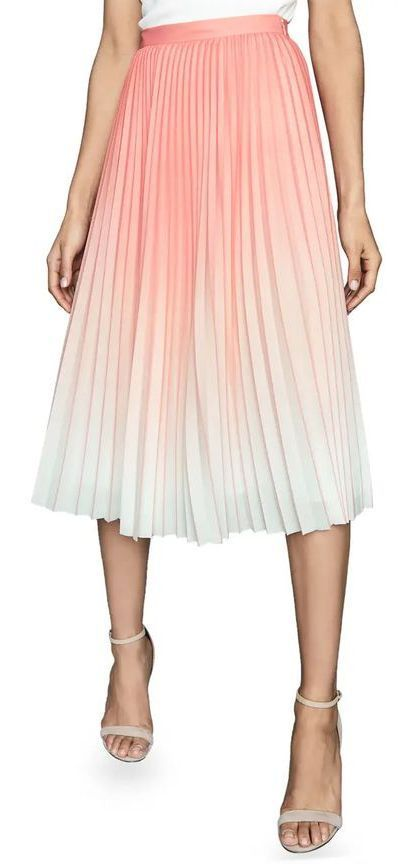 Mila Ombre Pleated Midi Skirt (sponsored)