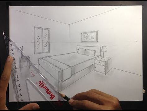 How to Draw a Simple Bedroom in Two Point Perspective - YouTube
