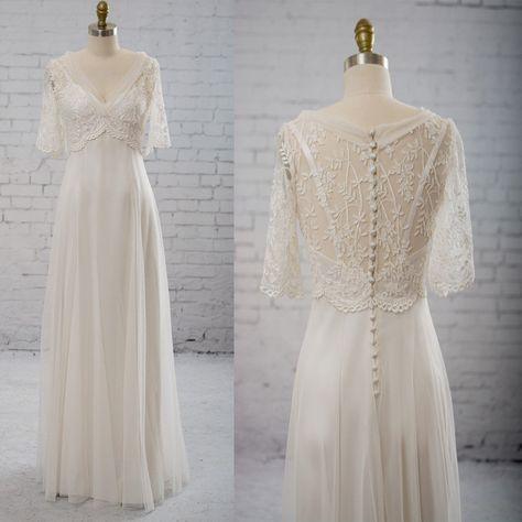 Vantage Half Sleeve V-Neck Elegant See Through Wedding Party Dresses, WD0037 - US4 / Black