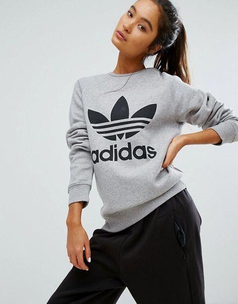 adidas Originals – Graues Boyfriend Sweatshirt mit Dreiblatt