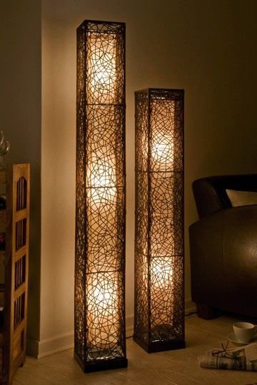 Rattanlampe Clara Quadratisch 164cm Stehlampen Wohnzimmer Lampen Und Leuchten Lampen Wohnzimmer