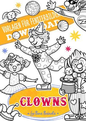 Bines Shop Downloads Clowns Faschings Fensterdeko Girlanden