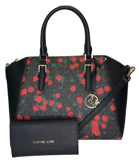 cd890f8fcc15 Michael Kors Duffle Hayes with Phone Wallet Set Signature Mk Black/Red  Roses Leather Satchel in 2019 | Handbags | Satchel, Leather satchel, Phone  wallet
