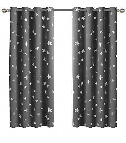 Anjee Silver Star Curtains For Kids Room 2 Panels With 2 Thermal