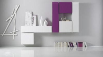 Wohnwand weiss lila echt hochglanz lackiert Jetzt bestellen unter