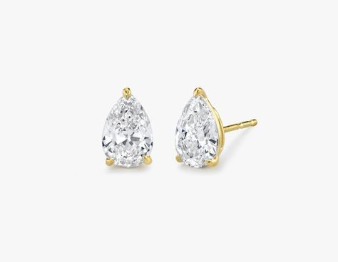Solitaire Pear Diamond Studs