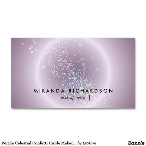 Purple Celestial Confetti Circle Makeup Artist Pack Of Standard Business Cards