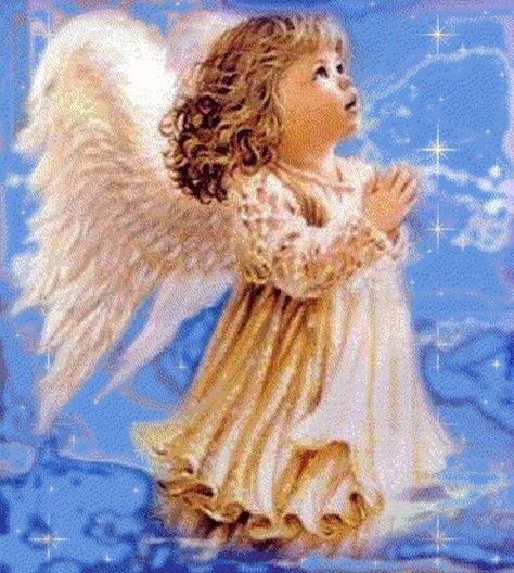 Beautiful little girl Angel, praying.  #Gif #Angel #Child