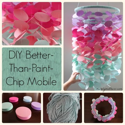 "Pinterest addict that I've become, I've been admiring the gorgeous DIY ""paint chip mobiles"" that pop up, so I decided I would give this project a try. It seemed pretty straightforward and didn't re..."