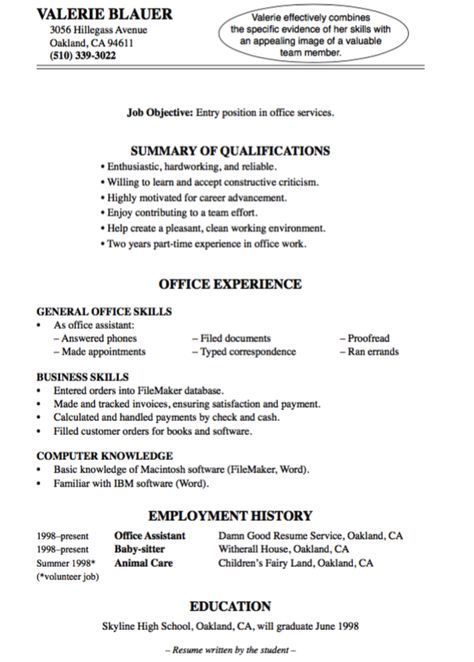 Sample Entry Level Office Resume - http\/\/exampleresumecvorg - resume office skills