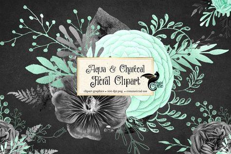 Aqua and Charcoal Floral Clipart (232882)   Illustrations   Design Bundles