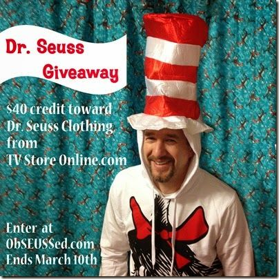Dr. Seuss Clothing Giveaway ends March10. Your choice:  $40 worth of t-shirts, hoodies, hats, kid/teen clothes and more.