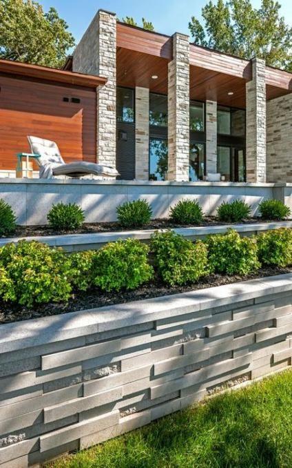 55 Ideas Backyard Modern Retaining Walls Modern Backyard Landscaping Modern Landscaping Landscaping Retaining Walls