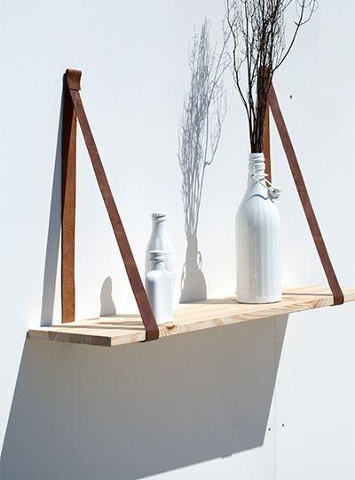 Bausatz für DIY Regal aus Leder und Holz. Ihmchen, das