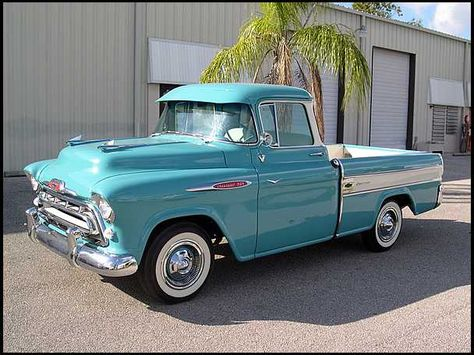 Chevy trucks aficionados are not just after the newer trucks built by Chevrolet. They are also into oldies but goodies trucks that have been magnificently preserved for long years. 57 Chevy Trucks, Chevy Pickups, Chevy 4x4, Lifted Trucks, Chevy Stepside, Lifted Ford, 1957 Chevrolet, Chevrolet Corvette, Classic Pickup Trucks