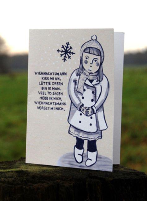 Luttje Deern Plattdeutsche Weihnachtskarte Weihnachtskarten Basteln Plattdeutsch Weihnachtskarten