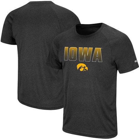 Men's Colosseum Black Iowa Hawkeyes Gradient Stack Performance Raglan T-Shirt, Size: 2XL