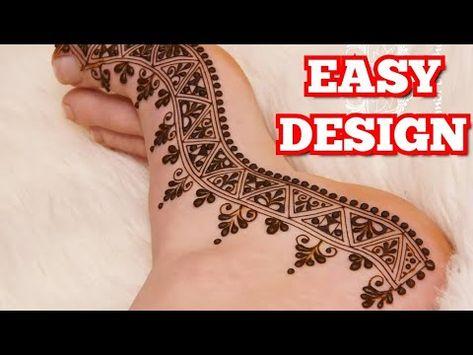 نقش حناء في القدم سهلة وبسيطة نقش حناء للاقدام للمبتدآت نقش حناء عروس للقدمين Easy Mehandi Desing Youtube Henna Hand Tattoo Hand Henna Hand Tattoos